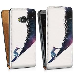 Diseño para HTC One M7 DesignTasche Downflip black - surfing the universe