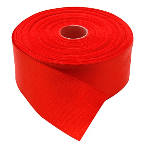 - Topenca Supplies 2 Inches x 50 Yards Double Face Solid Satin Ribbon Roll, Red