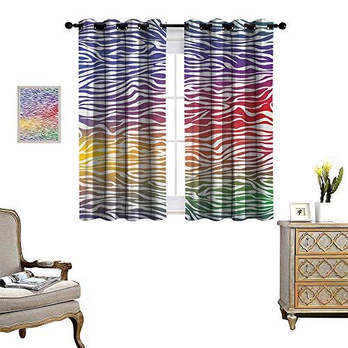 - Warm Family Zebra Print Window Curtain Fabric Abstract Zebra Skin Pattern Geometric Horizontal Stripes Illustration Drapes for Living Room W63 x L63 Purple Red Yellow