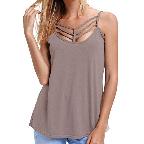 WOCACHI Christmas Final Clear Out Women Blouse Summer Solid Caged Neckline Spaghetti Strap Vest Tank Top Black Friday Cyber Monday Deals]()