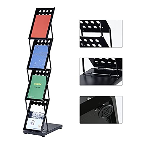 T-Sign Foldable Pop Up 4 Pockets Magazine Literature Brochure Catelog Holder Rack Stand With Portable Aluminium Oxford Case For Office And Tradeshow - Pocket Literature Floor Display