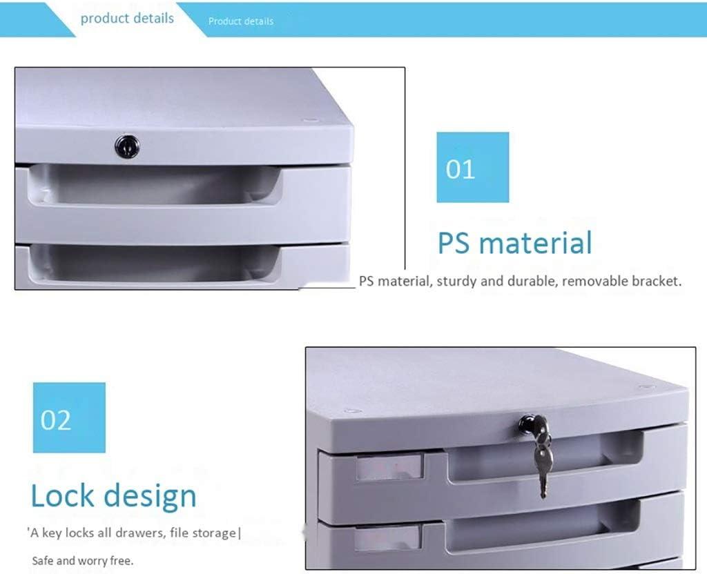 File Cabinets Mobile 5 Drawer Desktop Data Storage Box Key Lock Office Cabinet Plastic 303831.5cm Home Office Furniture