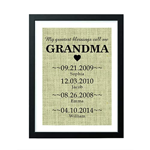 Boston Creative company Personalized Gifts - Grandma Gifts - Burlap Sign Gifts for Girls - Funny Gifts -Birthday Gifts - Natural Burlap Print Cute Grandchildren Birth Dates Wall Art # 005 (Personalized Gifts Grandparent)
