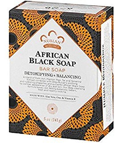 Black Soap Nubian African Heritage ((2) Nubian Heritage, African Black 5 Ounce Bar Soaps)