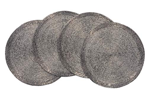 - Decozen Handmade Round Beaded Placemat for Coffee Table Dining Table High Quality Beads Heat Resistant Scratch Proof and Easy to Care Kitchen Décor Table Mat with Diameter 14 inches - Smoke/Silver