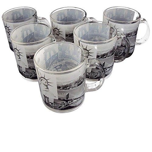 Set of 6 - Glass Coffee Mug, 10 Oz, New York City Black and White Photographs #60127.