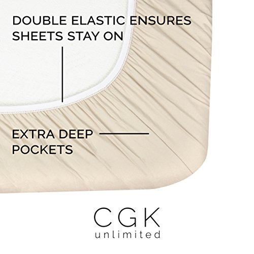 Queen Size Sheet Set - 4 Piece Set - Hotel Luxury Bed Sheets - Extra Soft - Deep Pockets - Easy Fit - Breathable & Cooling - Wrinkle Free - Comfy – Beige Tan Bed Sheets - Queens Sheets – 4 PC by CGK Unlimited (Image #1)'