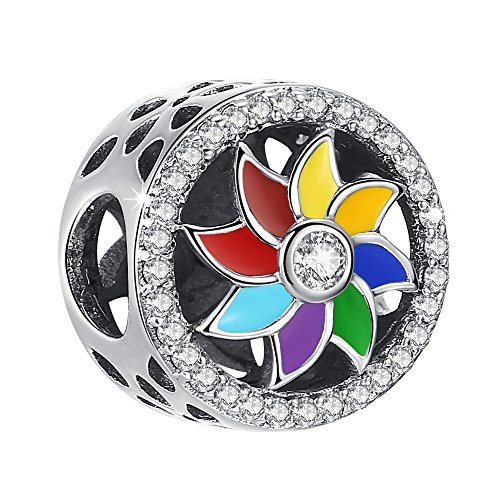 (ANGELFLY 925 Sterling Silver Rainbow Sunflower Charm Beads with Multicolor Enamel Charms for Pandora Bracelets, Birthday Christmas Travel Gifts for Women Teen Girls Wife Daughter)