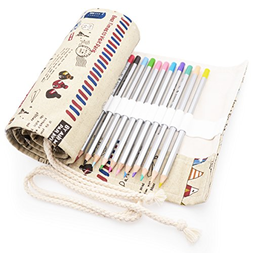 Minhe 72-colored Roll-Up Canvas Pencil Wrap - Post Style (Pencils are not include)
