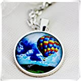 because meet you Handcrafted Pendant Necklace,Hot Air Balloon - silver or bronze pendant necklace. Teal green jewellery