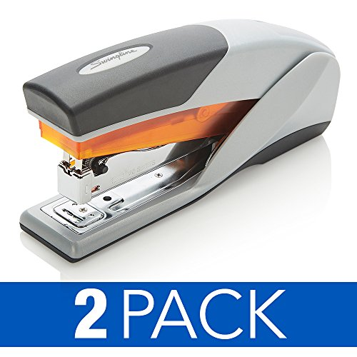 Swingline Stapler, Optima 25, Full Size Desktop Stapler, 25 Sheet Capacity, Reduced Effort, Orange/Gray, 2 Pack (S7066402AZ)