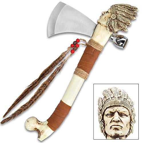 - K EXCLUSIVE Cherokee Tomahawk and Peace Pipe Replica - Stainless Steel Blade, Crafted of Cast Polyresin, Feather Accents - Length 16