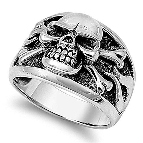 Men's Biker Skull Crossbones Polished Ring .925 Sterling Silver Band Size 8 925 Sterling Silver Skull Ring