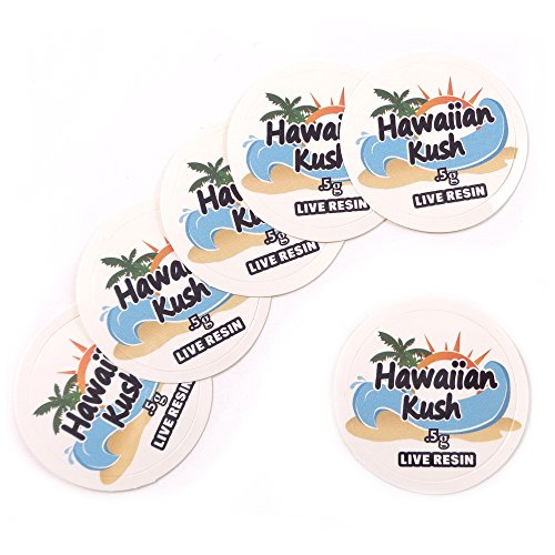 100 Hawaiin Kush Live Resin 0.5G Collective Supply Medical Rx Labels Stickers 1