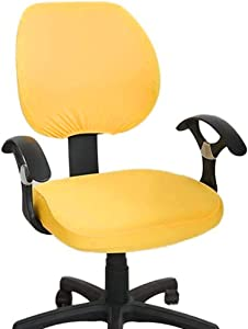 Melaluxe Computer Office Chair Cover - Protective & Stretchable Universal Chair Covers Stretch Rotating Chair Slipcover (Yellow)