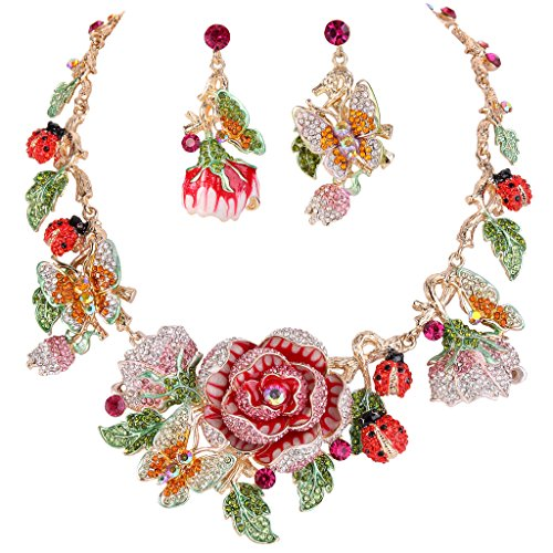 EVER FAITH Crystal Enamel Flower Cluster Butterfly Ladybug Insect Necklace Earrings Set Pink ()