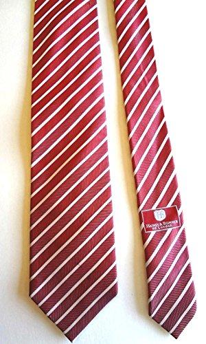 London Silk Necktie (Haines & Bonner of London Hand Made Striped Necktie 100% Silk Red)