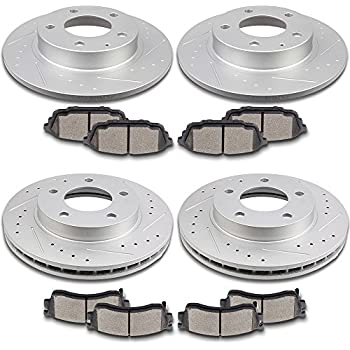 Brake Disc Rotors + 2 4 Hardware CRK13259 FRONT 274 mm Premium OE 5 Lug Ceramic Brake Pads