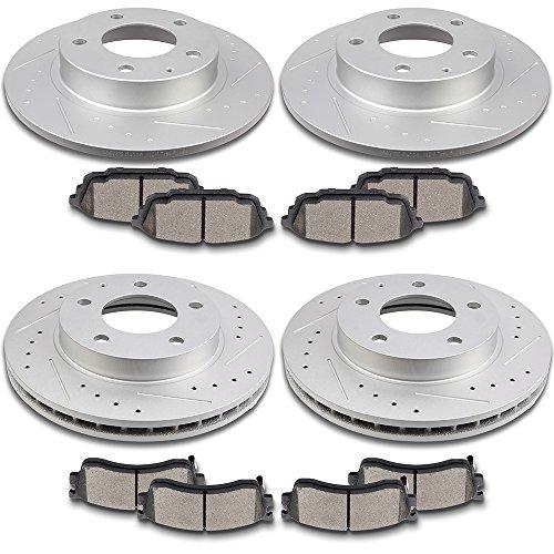SCITOO Brake Parts, Front 258mm Rear 261mm Brake Rotors Discs and Ceramic Pads Brake Kit fit 2002 2003 Mazda Protege5,2001 2002 2003 Mazda Protege