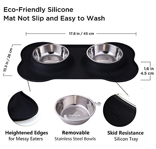 MiNiPet-Dog-Bowl-Stainless-Steel-Removable-Pet-Bowls-Water-Food-Feeder-With-Non-Spill-and-Skid-Resistant-Silicone-Mat-Set-of-2-Puppy-Cats-Travel-Bowl