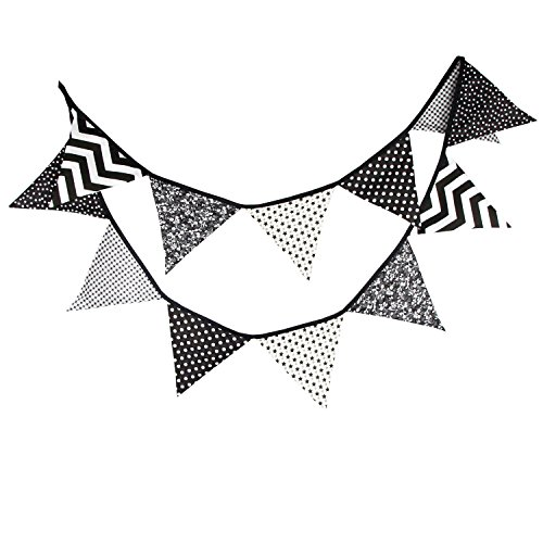 (DalosDream 10.56 Feet Teepee Flag Cotton Pennant Banner 12 Pieces Triangle Flag Bunting for Teepee Tent Hanging Decoration (Black & Grey,)