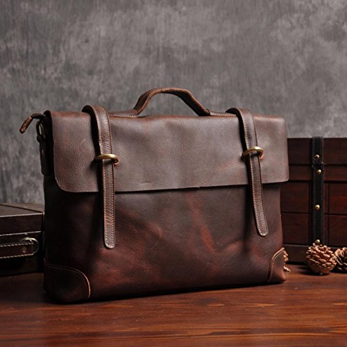 ZHUDJ The British Retro Crazy Horse Leather Briefcases Full Leather Business Leather Messenger Bag Shoulder Diagonal Cross Male,Brown Black Deep coffee