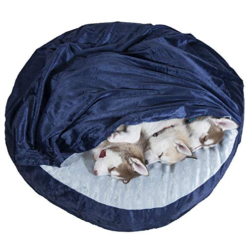 FurHaven Pet Dog Bed   Memory Foam Round Microvelvet Snuggery Burrow Pet Bed for Dogs & Cats, Navy, 35-Inch