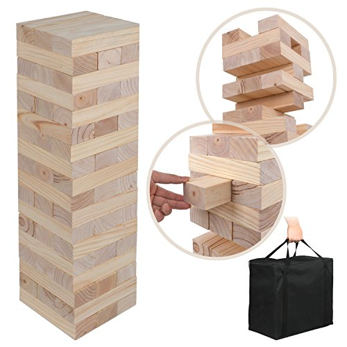 Giant Toppling Timber Tower Wood Stacking Block Game No Print Version Pinewood Smooth Finish Wood (54 Pieces) by Nova Microdermabrasion