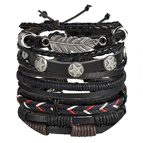 Friendshiy Luxurious:Cheap Vintage Leaf Feather Multi-Layer Leather Bracelet Men's Fashion Woven Handmade Rope Winding Bracelet Men's Gift