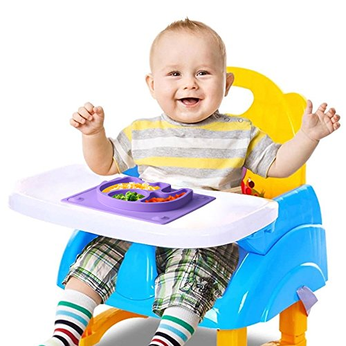 Mini Baby Placemat, SILIVO 10''x7.7''x1'' Silicone Child Feeding Mat with Suction Cup Fits Most Highchair Trays (Purple) by SILIVO (Image #1)