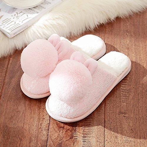 di indoor eleganti soggiorno scarpe Rosa2 Il paio DogHaccd pantofole inverno spesso bel uomini pantofole home femmina di cotone caldo qzwTI1