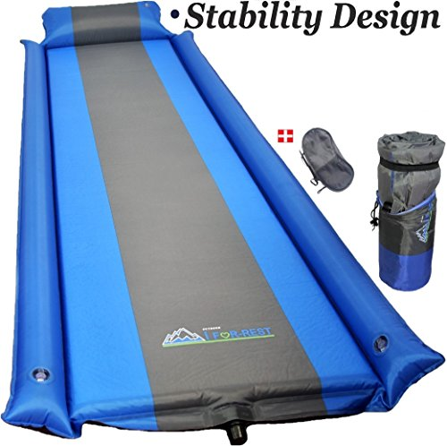 Self Inflating Ground (Sleeping Pad - with Armrest & Pillow - Self inflating Sleeping Pad is Ideal for Camping Hiking - waterproof - IFor-Rest-Camping Pad will Never let your Arms&Foot feel Ground - inflatable Sleep Pad)