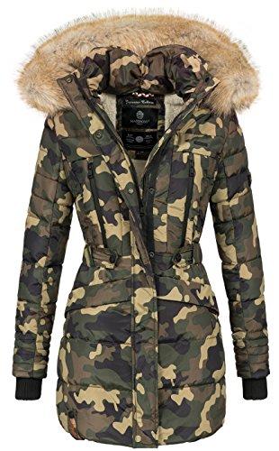 43360faf3502 Marikoo Damen Winter Jacke Parka Mantel Winterjacke Warm gefüttert Kapuze  B608 Camouflage - Army 8dJWquY7E