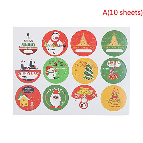 Scrapbook Sticker - 2019 90pcs 120pcs Christmas Self Adhesive Gift Tag Writable Paper Stickers Tree Santa Snowmen - Party Decorations Party Decorations Stationery Sticker Decor Plastic Gift Th ()
