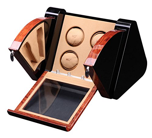 opening&closing Classic Watch Winders for 4+4 Watches for automatic Watch Winder Rotator Case Cover Storage A , brown by L@YC