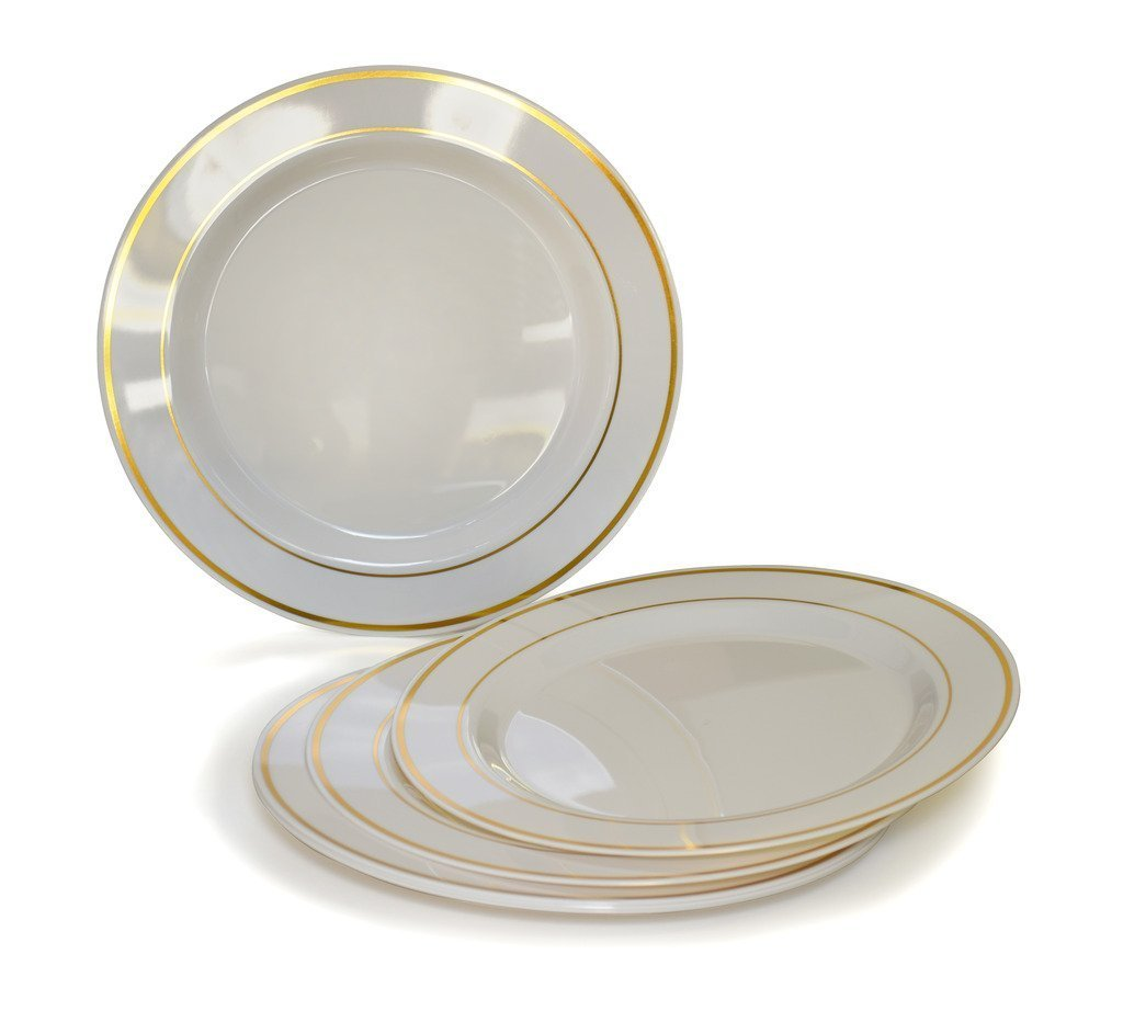 Amscan Elegant Premium Plastic Round Party Plates with Trim (20 Piece), 6 1/4'', White/Gold