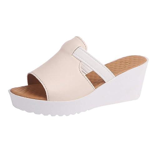 adb6743c4 Modaworld Sandalias y Chanclas Mujer Verano 2019 Zapatillas de cuña Casual Mujer  Zapatos de Plataforma Moda Chanclas Fiesta Sandalias de tacón Alto señoras  ...