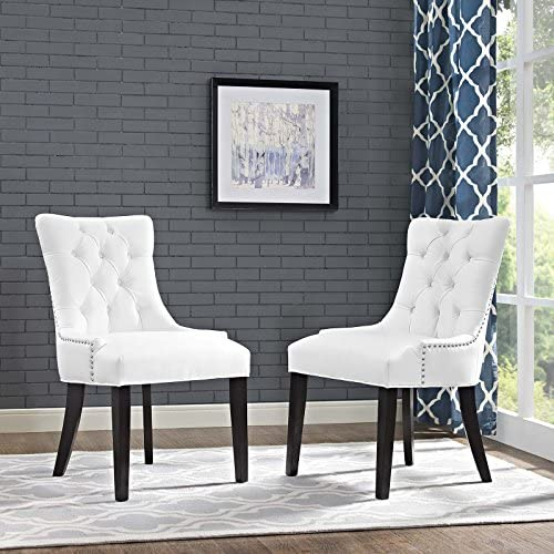 Modway Regent Modern Tufted Faux Leather Upholstered Two Kitchen and Dining Room Chairs with Nailhead Trim in White