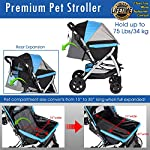 HPZ Pet Rover Premium Heavy Duty Dog/Cat/Pet Stroller Travel Carriage with Convertible Compartment/Zipperless Entry/Reversible Handlebar/Pump-Free Rubber Tires for Small, Medium, Large Pets 11