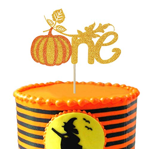Price comparison product image Pumpkin One Cake Topper 1st First Birthday Glitter Fall Baby Shower Party Favors Decorations 1 set