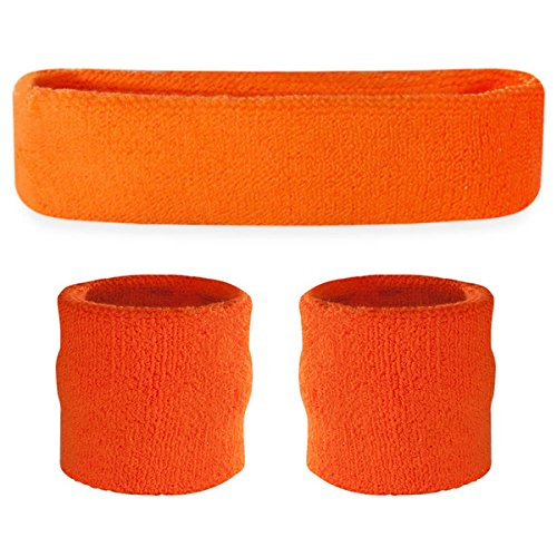 Suddora Orange Headband/Wristband Set - Sports Sweatbands for Head and Wrist