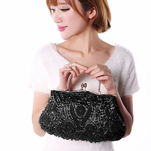Clutch Sequins Bag Women Sallyshiny Evening Glitter Black Prom Tote Party Beads Bags Handbag dEfU0wYq0