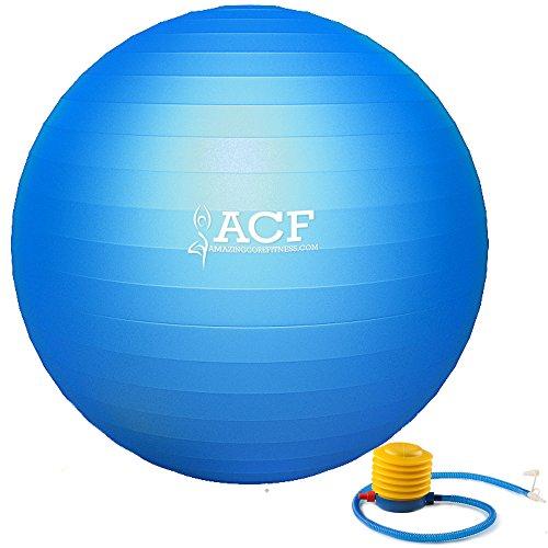 ACF Exercise Ball w/ Pump - Anti Burst & Slip Resistant Stability Fitness Ball