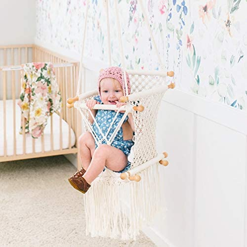 little dove Hanging Swing Seat Macrame Hammock Baby Swing for Infant to Toddler Beige Cotton Rope Weaved Nursery Decor Girl Birthday Gift