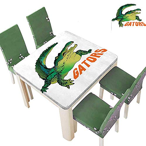 Polyester Fabric Tablecloth Grumpy Alligator Has A Word Gator Crocodile Humor Wild Life Safari Aquatic Print Suitable for Home use 50 x 50 Inch (Elastic Edge)