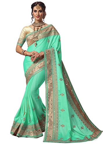 (Nivah Fashion Women's Sattin Embroidery Work With Diamond's Material Saree K715(Turquoise))
