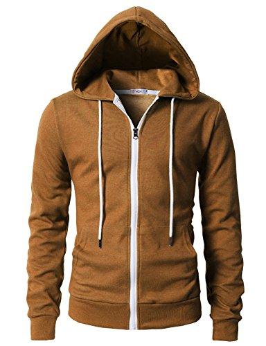 (H2H Men's Zipper Hoodie Sweatshirt Pullover Hooded Shirts Pocket Caramel US S/Asia M (KMOHOL0131))