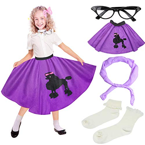 (Beelittle 50s Girls Costume Accessories Set - Vintage Felt Poodle Skirt, Chiffon Scarf, Cat Eye Glasses, Bobby Socks (High Waist)
