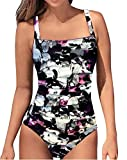 Upopby Women's Vintage Tummy Control One Piece Swimsuits Monokini Printed Plus Size Swimwear Bathing Suits Purple Floral 8