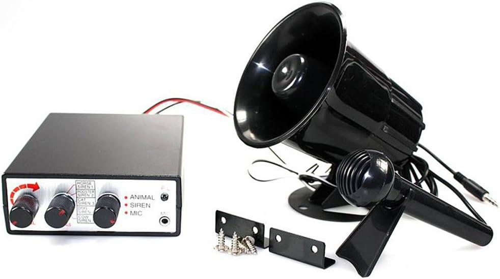 Vetrineinrete/® Megafono con microfono e centralina per auto 12v kit sirena con effetti sonori suoni animali A34